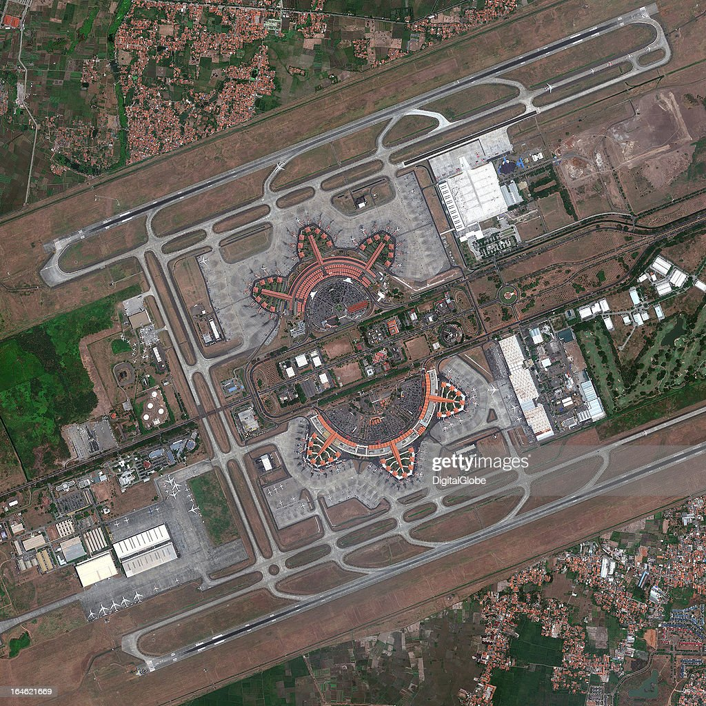 AIRPORT, TANGERANG, BANTEN, INDONESIA - SEPTEMBER 12, 2012: This is a satellite image of the Soekarno-Hatta International Airport, Tangerang, Baten, Indonesia, the main airport serving the greater Jakarta area on the island of Java, collected on September 12, 2012.