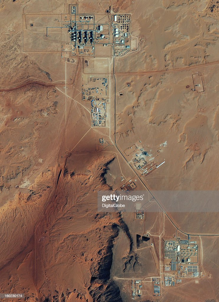 This is a satellite image of the sprawling Amenas Gas Field in Algeria where Islamist militants took hundreds of civilians hostage, including staff from at least ten different countries. The standoff ended when Algerian forces stormed the facility three days later. The seize resulted in the death of 38 hostages and 29 militants. A spokesperson for the militant group said the hostage seizure was the response to the French warplanes attacking Mali's militants. The gas plant is a joint venture between Algeria's Sonatrach Company and foreign firms British Petroleum and Norwegian Statoil.