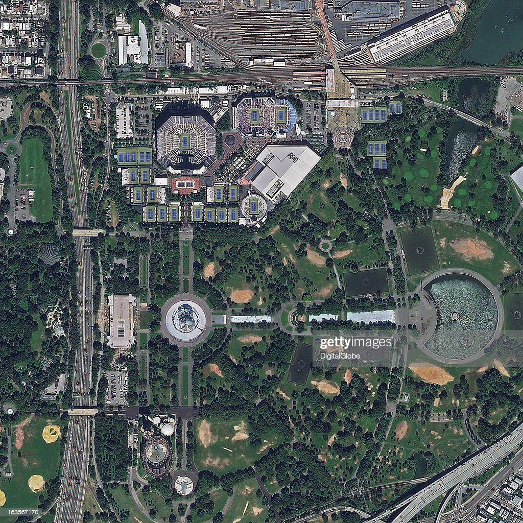 This is a satellite image of the USTA National Tennis Center, Flushing Meadows, New York, United States, were the US Open is held and the largest tennis venue in the US. Collected on August 29, 2012.