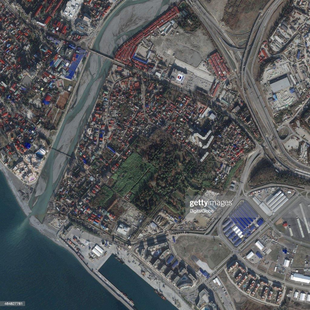 This is a satellite image of the Western Athletes Village, Sochi, Russia collected on January 2, 2014.