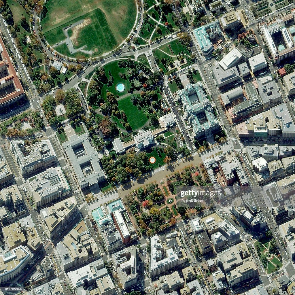 This is a satellite image of the White House in Washington, D.C.