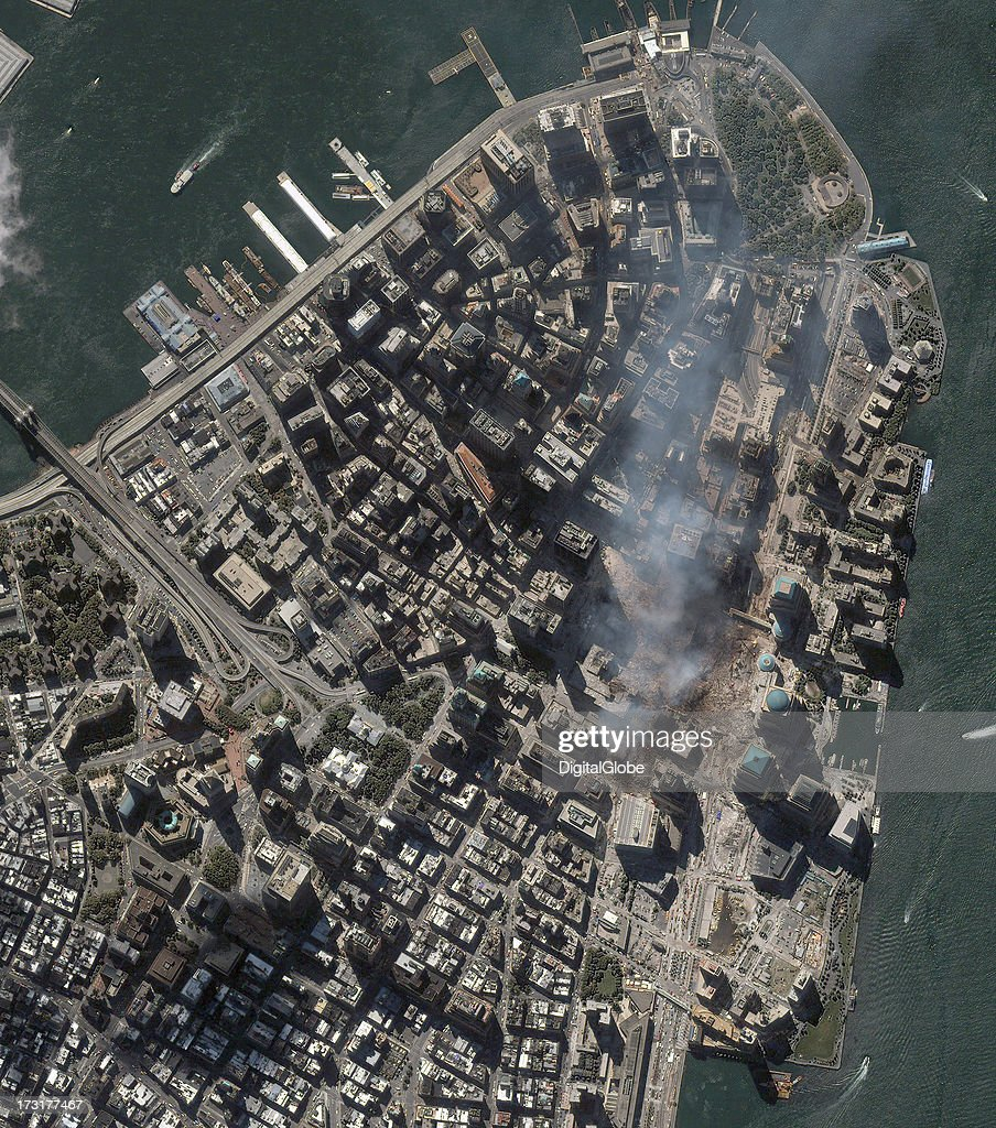 This is a satellite image of the World Trade Center Aftermath, showing the building debris, collected on September 15, 2001.
