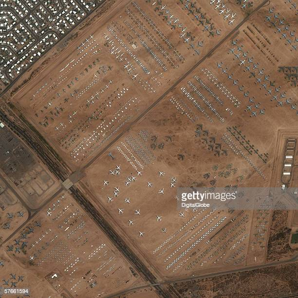 This is a satellite image of Tucson Arizona featuring the airplane museum collected August 11 2002