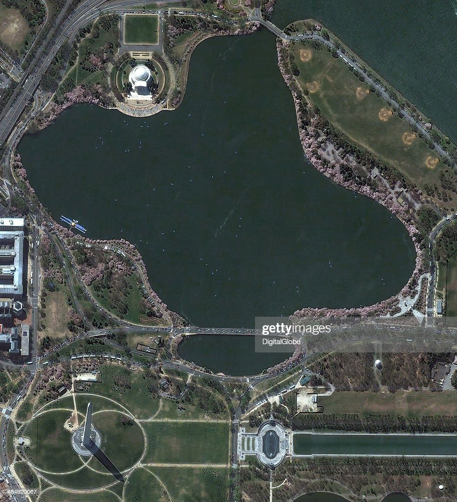 This is a satellite image of Washington D.C. showing the Tidal Basin and the cherry blossom trees collected on April 13, 2014.
