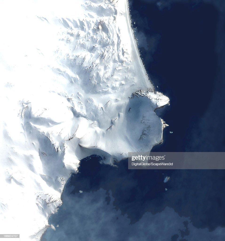 This is a satellite image overview of Bailey Head, Deception Island, Antarctica collected on December 17, 2010.