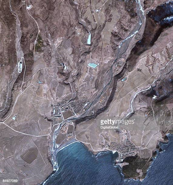 This is a satellite image overview of Musudan Ri North Korea formally known as Taepodong missle launch facility collected on February 18 2009 in...