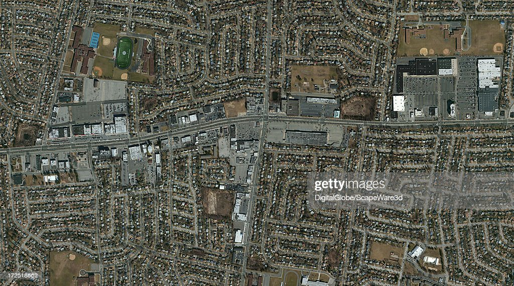 This is a Satellite Image overview view of Levittown, New York. Imagery captured February 8th, 2010.