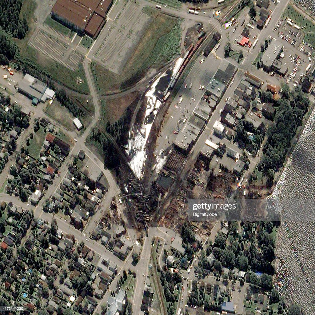 This is a satellite image taken the day after a train exploded in Lac Megantic Canada