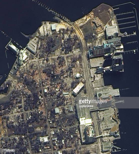 This is a true color satellite image of Biloxi Mississippi This image features the damaged coastal area after Hurricane Katrina struck this area