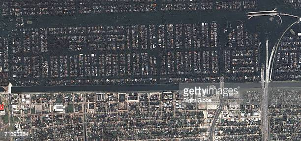 This is a true color satellite image of New Orleans Louisiana collected on August 31 2005 This image features the 17th Street Levee and surrounding...