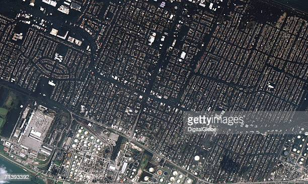 This is a true color satellite image of New Orleans Louisiana collected on August 31 2005 This image features the Chalmette area of New Orleans and...