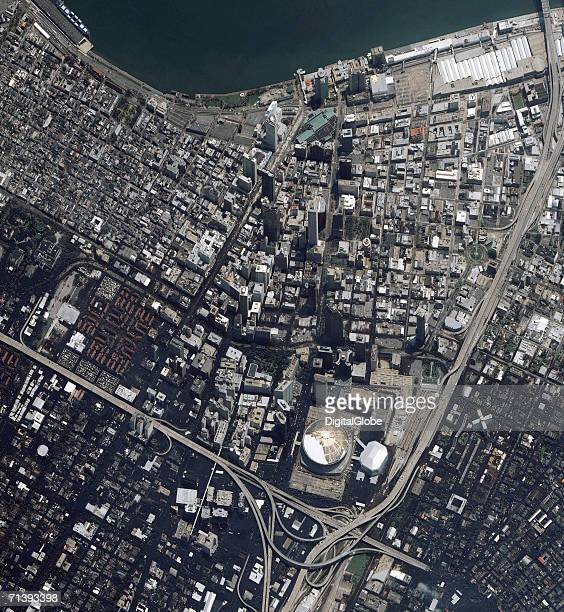 This is a true color satellite image of New Orleans Louisiana collected on August 31 2005 This image features a rotated view of downtown New Orleans...