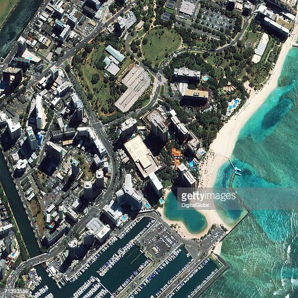 This is a true color satellite image of Waikiki Honolulu Hawaii collected on March 12 2004