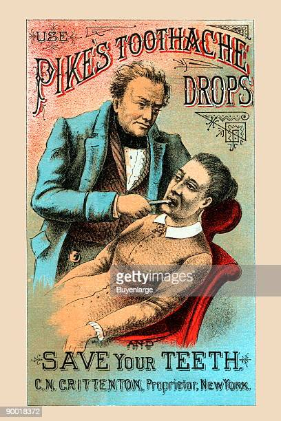 This is a Victorian trade card for an early form of toothpaste However the advertisement on the back lists a series of other quack potions and...