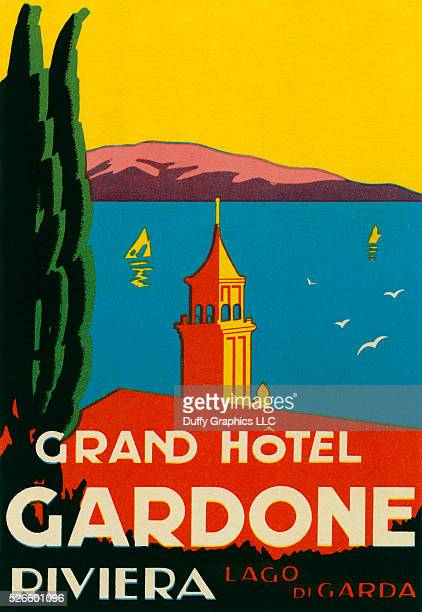 This is a vintage luggage label from circa 1930 showing the town of Gardone on Lake Garda Lago di Garda Italy very nice Art Deco style