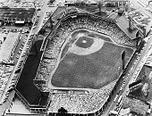 This is an aerial view of Fenway Park in Boston during a Boston Red Sox game