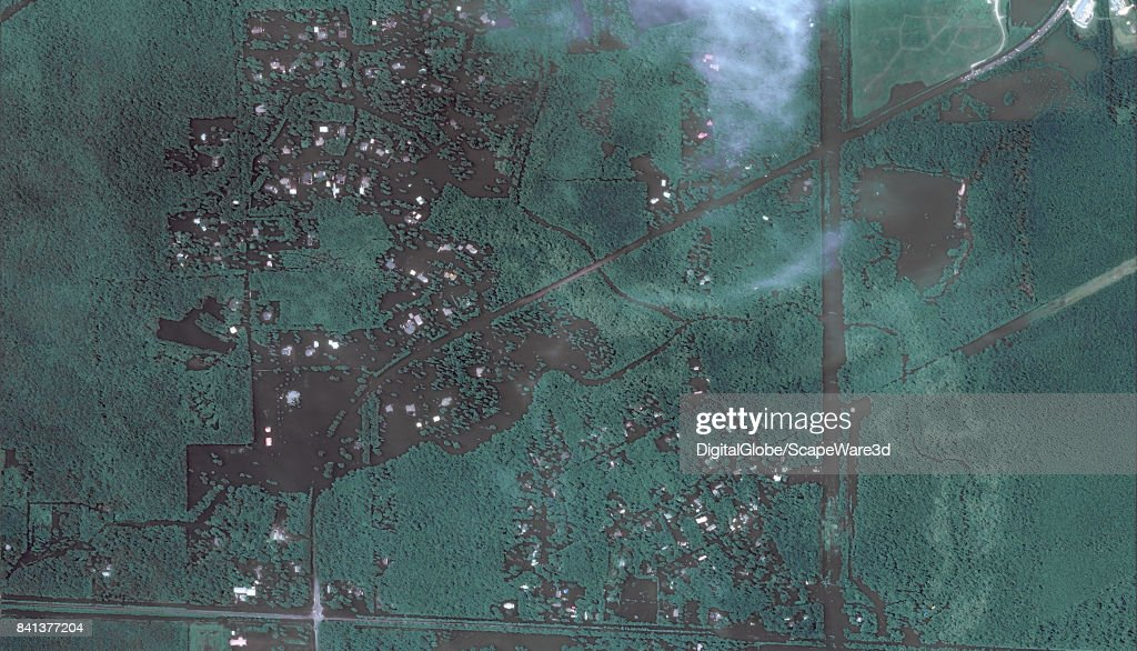 This is an 'after' DigitalGlobe satellite imagery of a neighborhood east of Beaumont, Texas -- after Hurricane Harvery.
