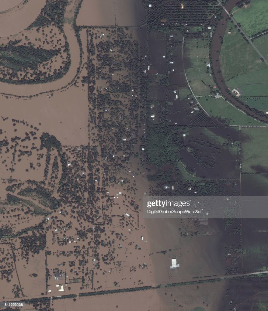 This is an 'after' DigitalGlobe satellite imagery of a neighborhood in Simonton, Texas -- after Hurricane Harvery.