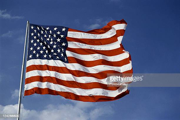 This is an American flag, waving in the wind
