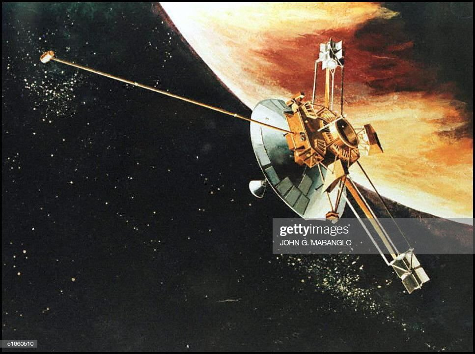 This is an artist rendition of the Pioneer 10 spacecraft as it passes the planet Jupiter Today marks the end of the United Sates' longest running...