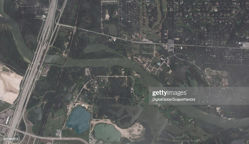 This is an 'before' DigitalGlobe satellite imagery of the Houston Floods of the San Jacinto River basin before Hurricane Harvery.