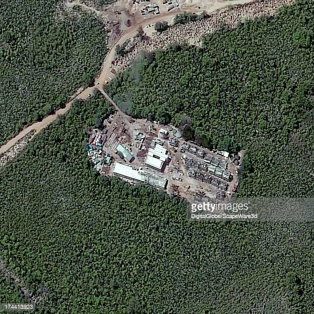 This is an closeup satellite image of the Topside detention camp in Nauru taken on July 24 2013