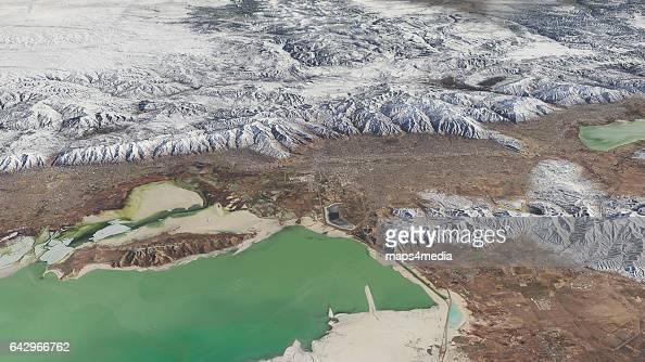 This is an enhanced 3d Sentinal Satellite Image looking east at Salt Lake City Utah