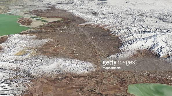 This is an enhanced 3d Sentinal Satellite Image looking north at Salt Lake City Utah