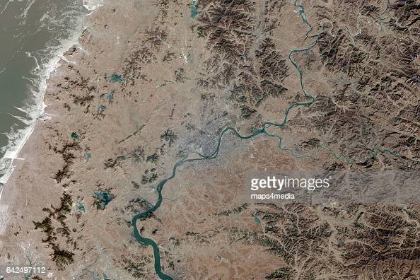 This is an enhanced overview Sentinel Satellite Image of Pyongyang the capital city of North Korea