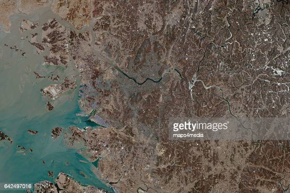 This is an enhanced overview Sentinel Satellite Image of Seoul the capital city of South Korea