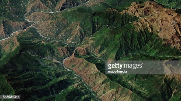 This is an enhanced Sentinel satellite 3d overview image of Machu Picchu Peru the most familiar of the Inca civilizations