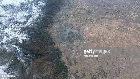This is an enhanced Sentinal Satellite Image looking north towards Denver Colorado draped over 3d terrain