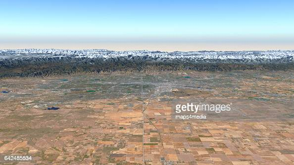This is an enhanced Sentinal Satellite Image looking west towards Denver Colorado draped over 3d terrain