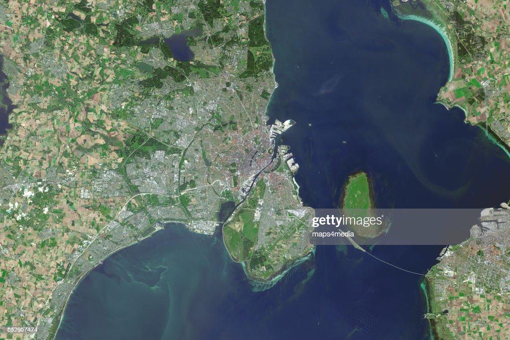 This is an enhanced Sentinel Satellite image map of Copenhagen, Denmark.