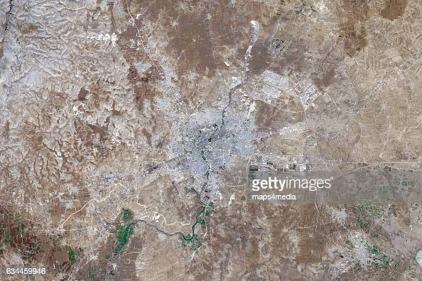 This is an enhanced Sentinel Satellite Image of Aleppo Syria