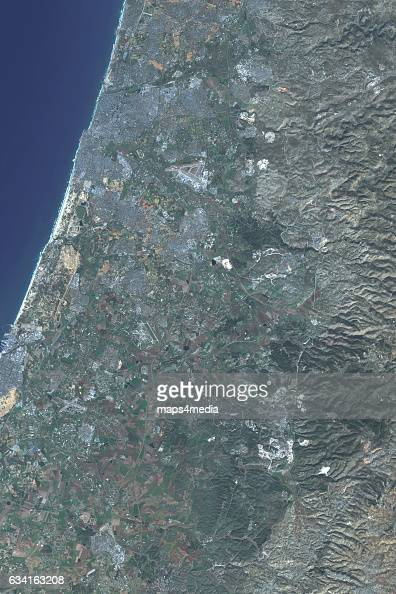 This is an enhanced Sentinel Satellite Image of Central Israel including Jerusalem and Tel Aviv
