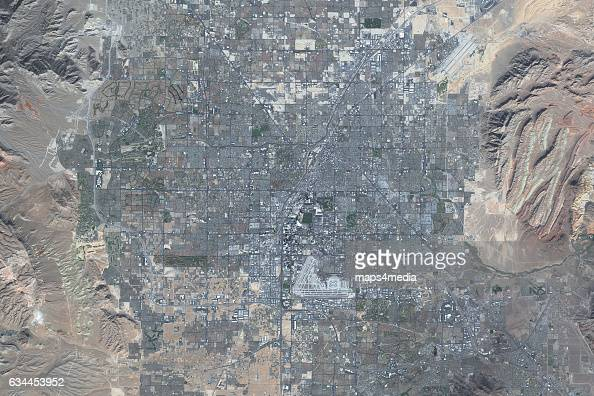 This is an enhanced Sentinel satellite image of Las Vegas Nevada