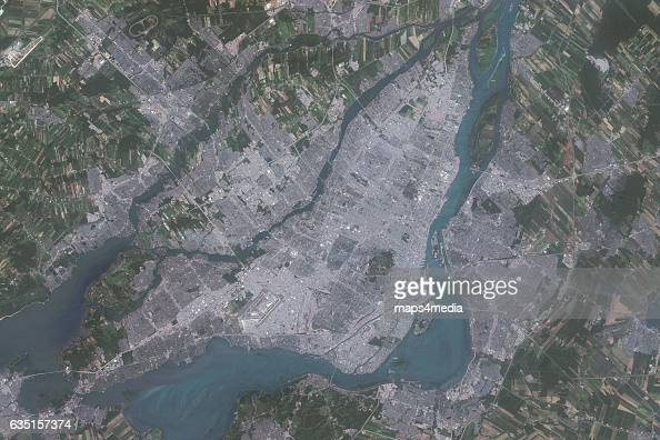 This is an enhanced Sentinel Satellite Image of Montreal Quebec Canada