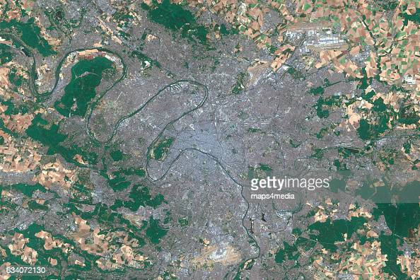 This is an enhanced Sentinel Satellite Image of Paris France