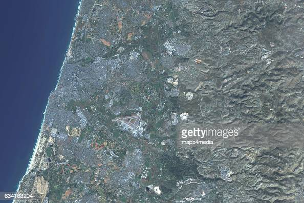 This is an enhanced Sentinel Satellite Image of Tel Aviv Israel
