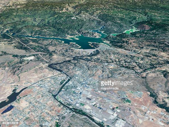 This is an enhanced Sentinal Satellite Image of the Oroville Dam and area draped over 3d terrain