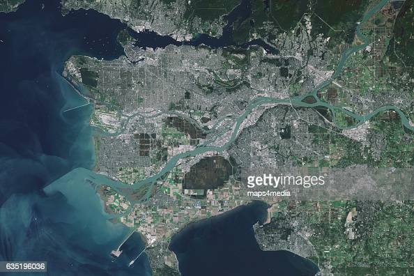 This is an enhanced Sentinel Satellite Image of Vancouver British Columbia Canada