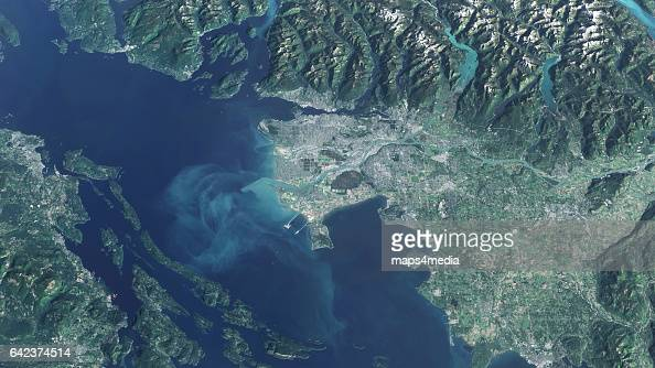 This is an enhanced Sentinel Satellite overview mage of Vancouver British Columbia Canada draped ov er 3d terrain