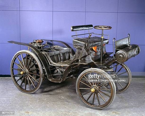 This is an example of the first type of motor car made at the Daimler Automobile works at Cannstadt Germany The car is powered by a vertical...