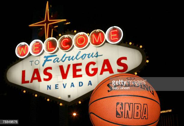 This is an image of the official NBA basketball and the Las Vegas Welcome Sign February 15 2007 in Las Vegas Nevada NOTE TO USER User expressly...