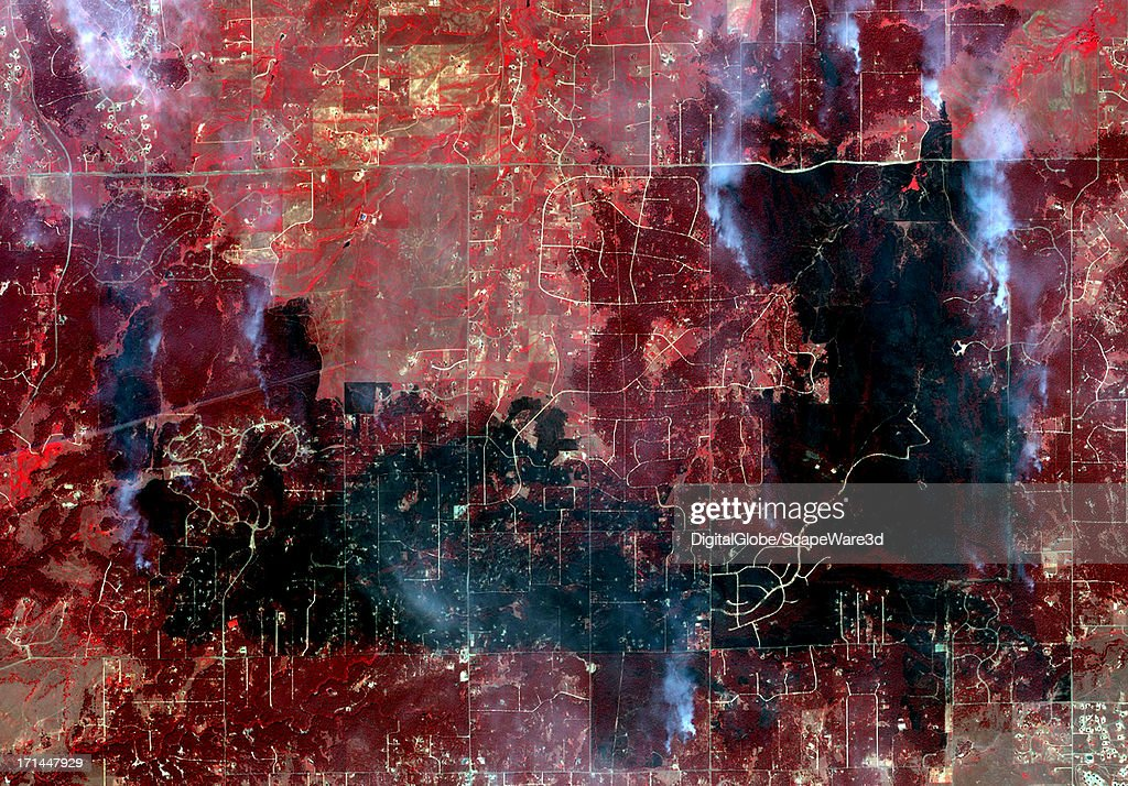 This is an infrared satellite image overview of the Black Forest fires near Colorado Springs, Colorado collected on June 13, 2013.