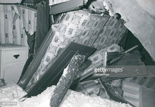 This is an interior view of one of the two unoccupied summer cottages that were destroyed in the avalanche This one fared better than the other...