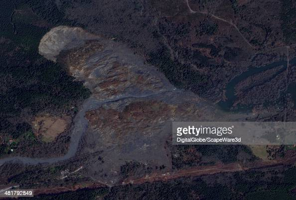 This is DigitalGlobe closeup satellite imagery of the Osa Washington MUDSLIDE area after the March 2014 tragedy Imagery collected on March 31st 2014