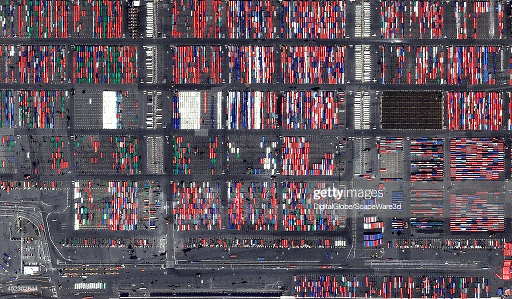 This is DigitalGlobe satellite imagery of Port Newark in New Jersey, USA.
