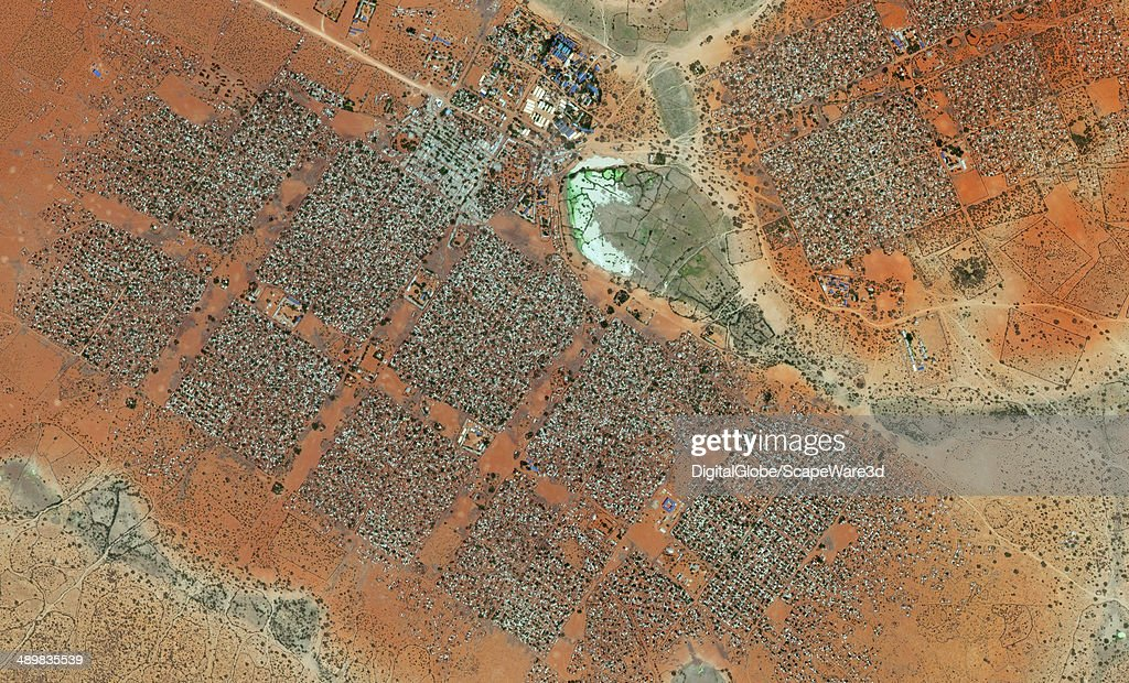 This is DigitalGlobe satellite imagery of the Hagadera Refugee Camp south of Dadaab Kenya Imagery collected on February 2nd 2014